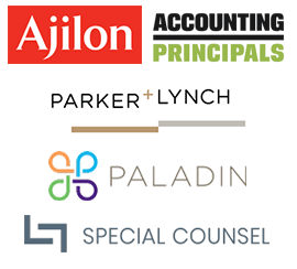 logos of our Talent Solutions: Ajilon, Accounting Principals, Parker + Lynch, Paladin, Special Counsel