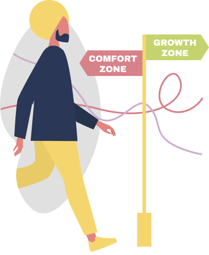 image of a person walking through comfort and growth zone